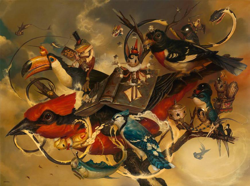 Грег Симкинс представя рисунки на митични пейзажи.
